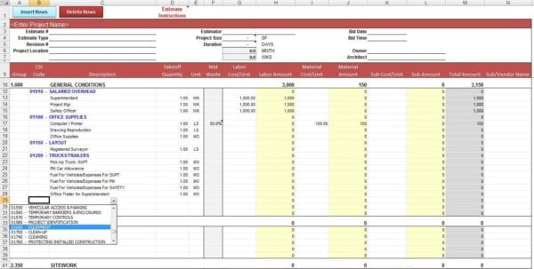Construction Job Costing Spreadsheet Template Expense Spreadsheet Template Spreadsheet Templates for Business
