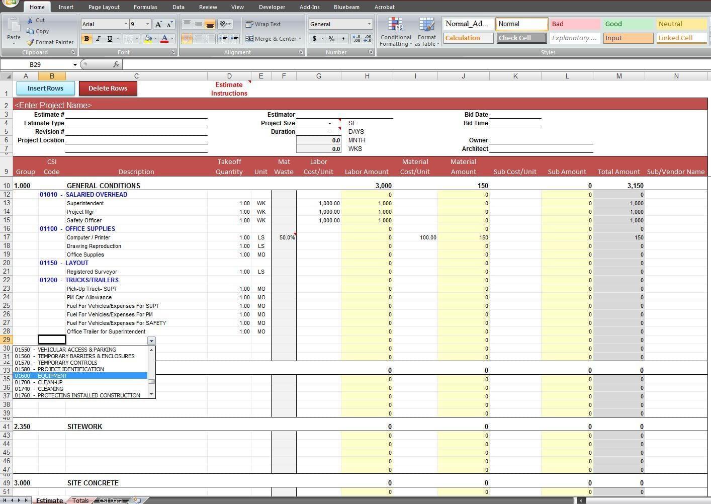 Construction Job Costing Spreadsheet Template