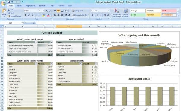 Easy Free Budget Spreadsheet