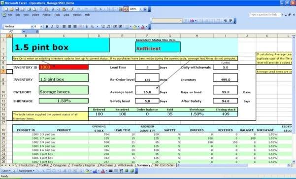 Excel Equipment Spreadsheet