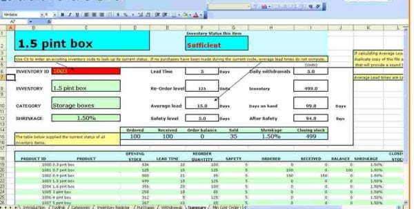 Small Business Inventory Spreadsheet Template Free Printable Inventory Sheets Free Stock Inventory Software Excel Excel Inventory Tracking Template Inventory Excel Formulas Excel Inventory Template With Formulas Blank Inventory Sheets To Print
