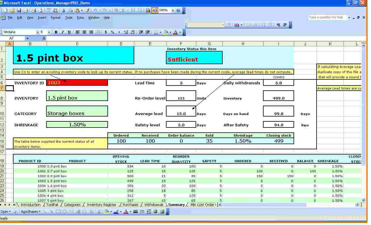 Excel Inventory Tracking Template 1