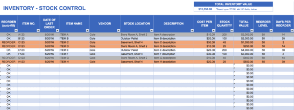 Free Excel Spreadsheet Inventory Management
