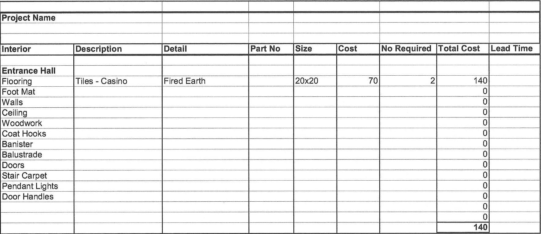 Free Job Cost Worksheet Template