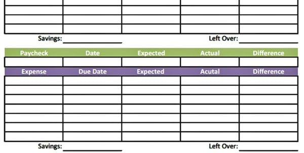 Monthly Budget Form Fillable