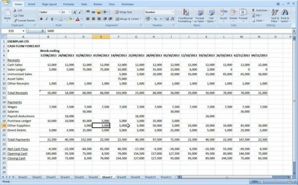 Sample Cash Flow Spreadsheet