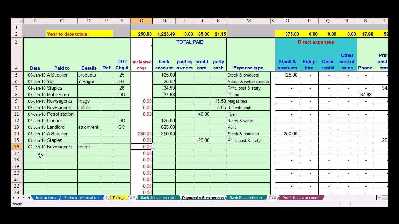 Small Business Bookkeeping Template