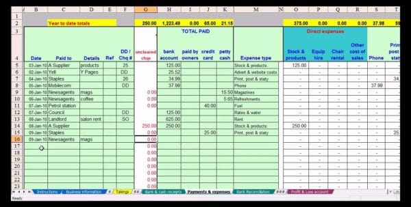 Bookkeeping Spreadsheet Example