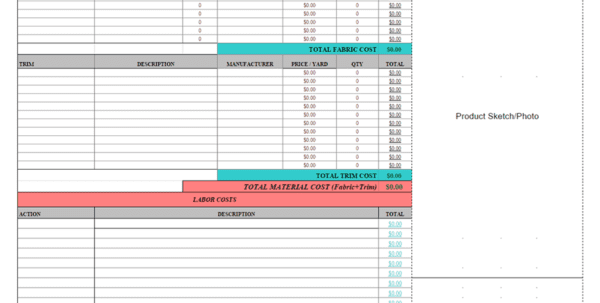 Product Cost Sheet In Excel Costing Spreadsheet Template Spreadsheet Templates for Business