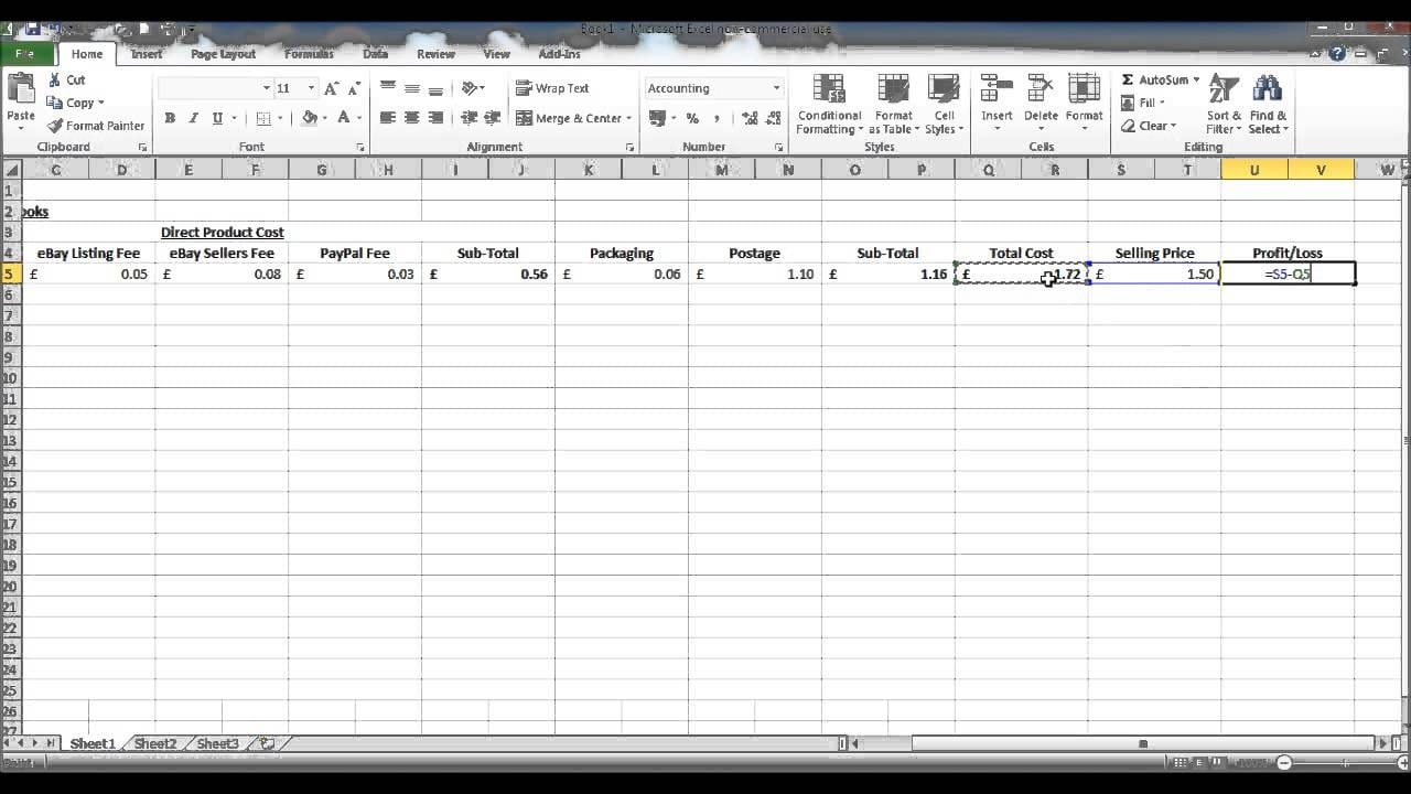 Profit And Loss Template Excel 1