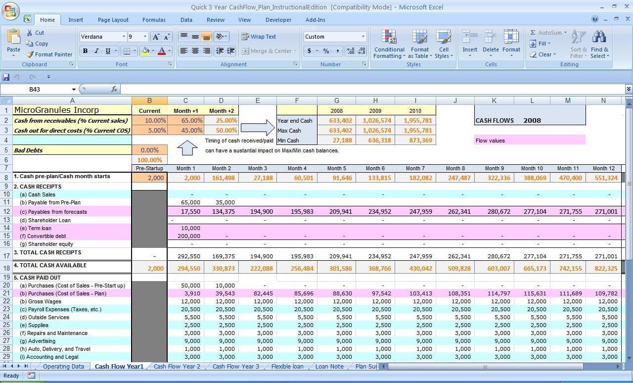 sample cash flow statement excel